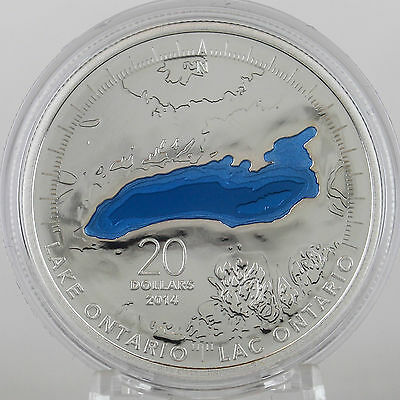 Canada 2014 Lake Ontario $20 1 oz Pure Silver Enameled Proof Coin Great Lakes #2 6