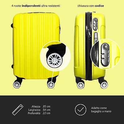 Trolley Rigido Da Viaggio Bagaglio a Mano Giallo Voli Ryanair EasyJet 55x35x20cm 3