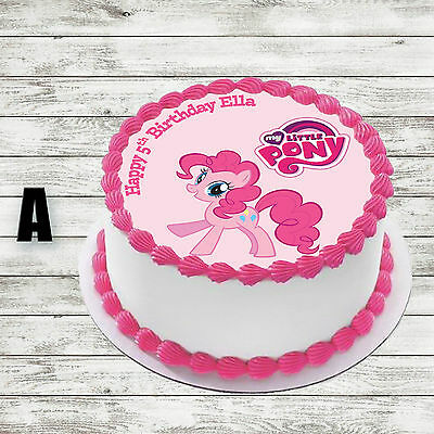 2 Of 9 My Little Pony Round Edible Birthday Cake Topper Decoration Personalised