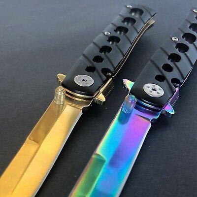 Large Rainbow Titanium Knife & Gold Pocket Knife Folding Hunting Camping KNIFE 4