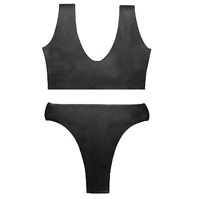 Brand New Latex Rubber Gummi Black Combination Bra and Bikini (one size) 4