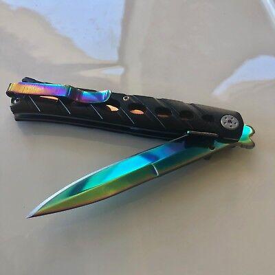 Large Rainbow Titanium Knife & Gold Pocket Knife Folding Hunting Camping KNIFE 7