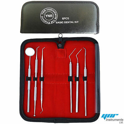YNR Dental Kit Tooth Scraper Mirror Scale Set Tartar Calculus Plaque Remover 6pc 10