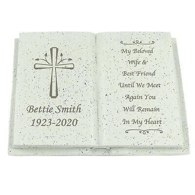 Personalised Memorial Book / Bible Plaque Garden Grave Ornament Cross Rose 5