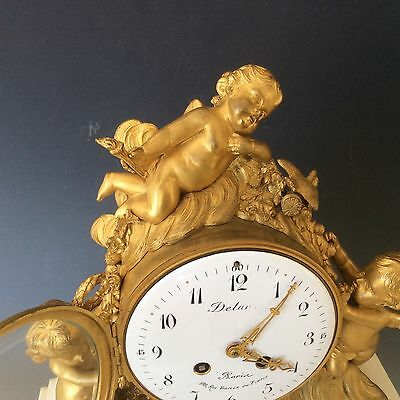 French Clock Garniture in  Gilt Bronze and Marble Circa 1880 4