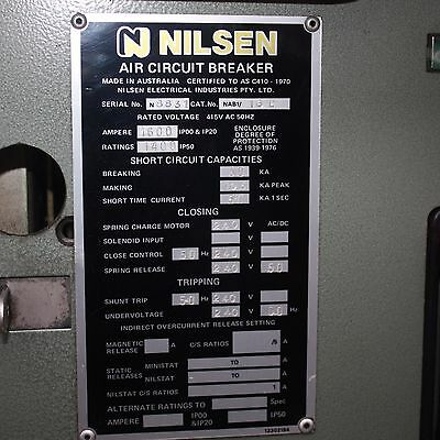 Nilsen Air Circuit Breaker 1600A Cat. No. NAB1/16D Industrial Mining electrical