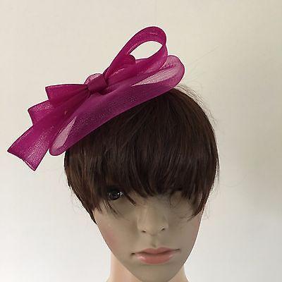 dark pink plum purple fascinator millinery burlesque wedding hat ascot bridal 3