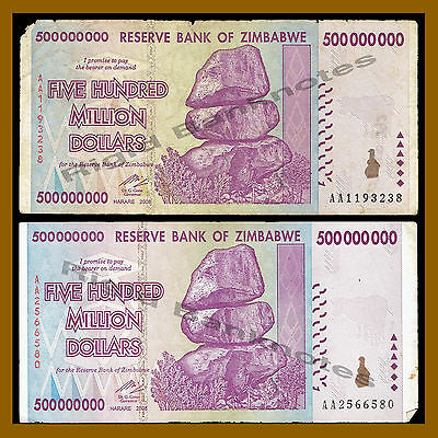 AA//AB 2008 500 x Zimbabwe 500 Million Dollar banknotes 5 currency bundles