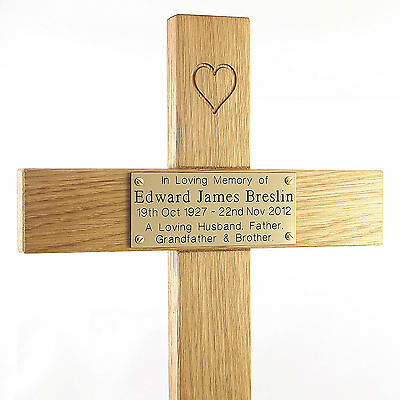 "24"" Carved Heart Oak Cross Memorial Grave Marker Custom Engraved Plaque Included 4"
