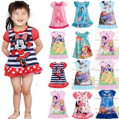 Kids Girls Cartoon Nightie Nightdress Sleepwear Pyjamas Nightgown T Shirt Dress 3