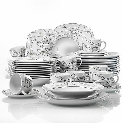 Details about  /16p Black White 3D Geometric Dinnerware Set Round Kitchen Dinner Plate Bowl Dish