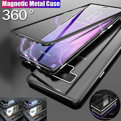 For Samsung S10/S10Plus/S9/S8+ Note8/9 Magnetic case Metal Tempered Glass Cover 4