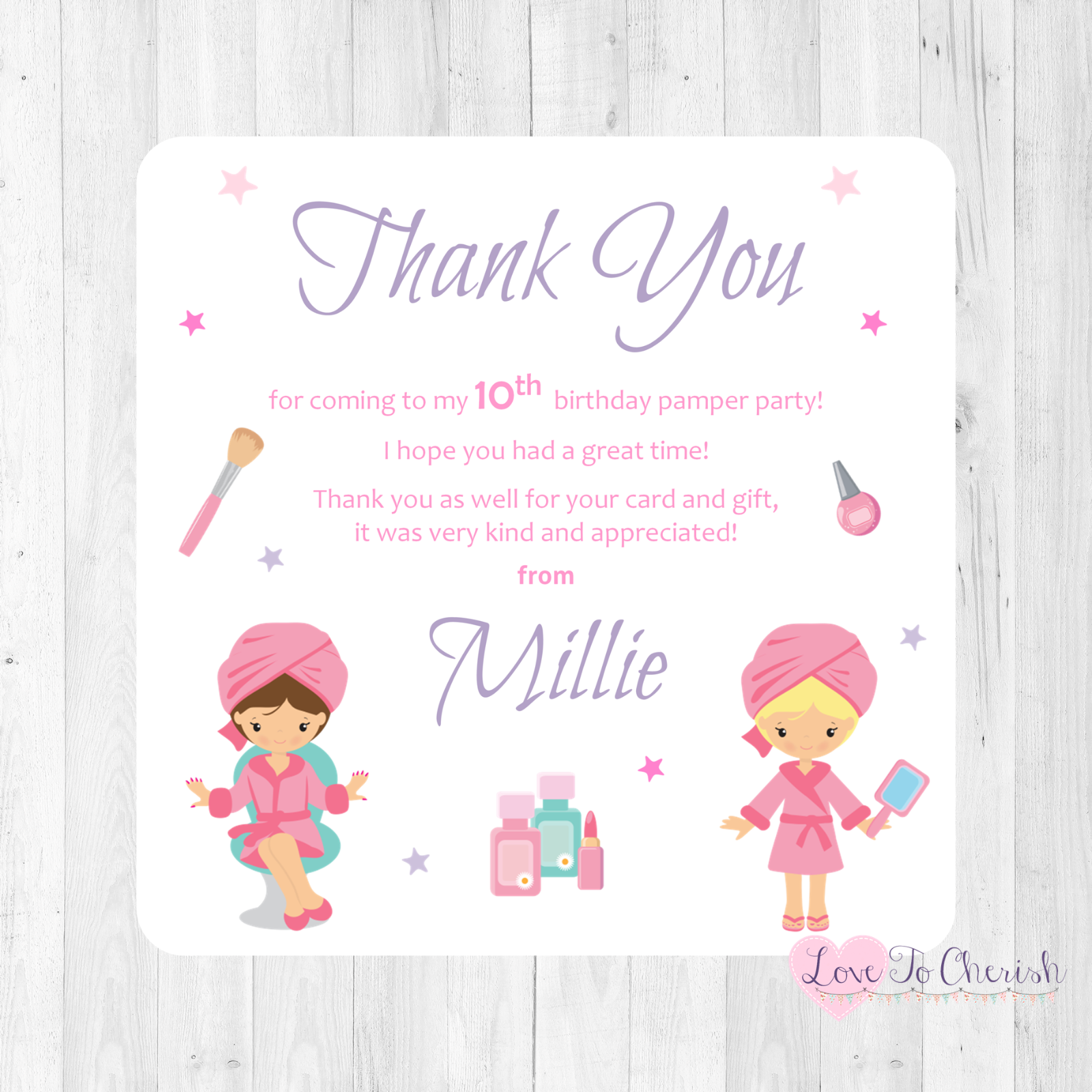 PAMPER NIGHT DAY PARTY Personalised INVITATIONS