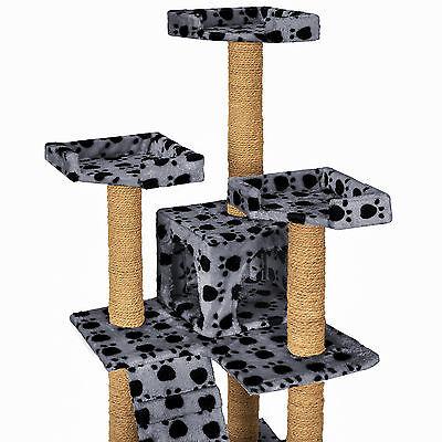 Arbre à chat griffoir grattoir jouet geant 2 grottes 169cm chats gris pattes 4