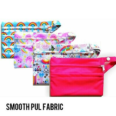 2 Pocket Double Zip Wet /Dry Waterproof Nappy Bag Hot Pink Narwhal Rainbow Small 2