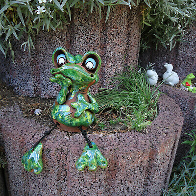 Keramik Frosch Gartenstecker Teich Kantensitzer Garten Deko Wetterfest Grün