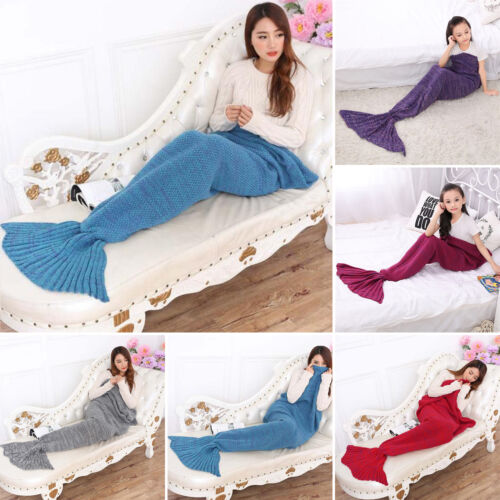 Erwachsene Meerjungfrau Waage Endstück Decke Gehäkelt Cocoon Sofa Steppdecke
