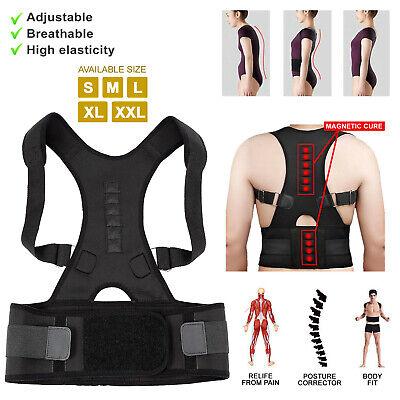 Posture Corrector Support Men Women Magnetic Back Shoulder Brace Belt Adjustable 3