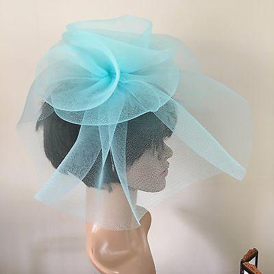 duck egg light pale baby blue feather headband fascinator millinery wedding 3