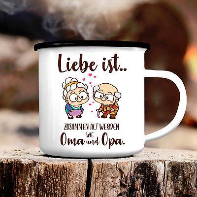 ToaN Emaille Tasse bedruckt Kaffeebecher Pott Camping Fototasse Wunsch Name