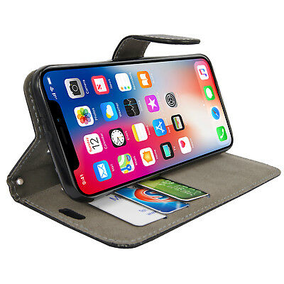 Case for iPhone 6 7 8 5S PLUS XR XS MAX Cover Real Genuine Leather Flip Wallet 4