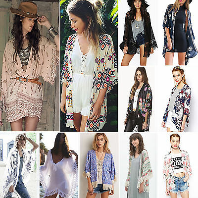 Womens Boho Beach Short Mini Dress Tribal Bikini Swimwear Cover Up Kaftan Kimono