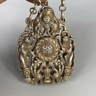 Chinese Collectible Old Tibet Silver Copper Handwork Flowers Spice Box 4