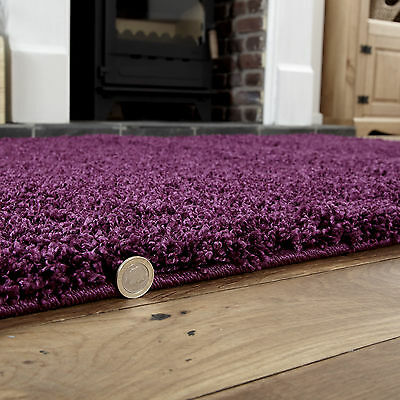 Small To Extra Large Thick 5Cm High Pile Non-Shed Aubergine Shaggy Purple Rug 3