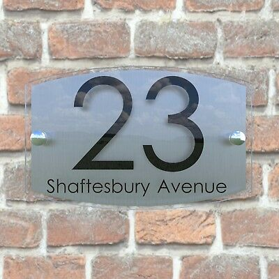 Contemporary House Sign Plaque Door Number 1 - 999 Personalised Name Plate EM27B 4