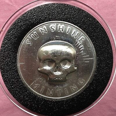 Skull Stamp Sunshine Minting 1/2 Troy Oz .999 Fine Silver Round Coin Medal 999 5