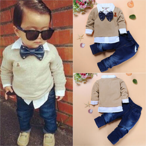 1c47530b2aef TODDLER KIDS BABY Boys Gentleman Outfits Suit Coat Shirt + Pants Set ...