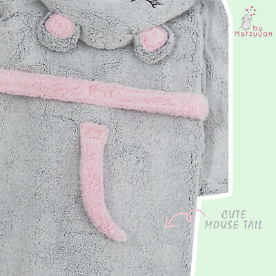 Girls Dressing Gown Novelty Mouse Kids Hooded Robe Fluffy Thick Snuggle Fleece 5