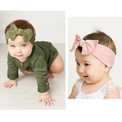 Baby Girls Bow Bun Turban Headband Hair band Head Wrap Cute Kids Plain Stretch 3