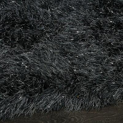 5.5cm Black Large SHAGGY Floor RUG Soft SPARKLE Shimmer Glitter Thick Pile 6