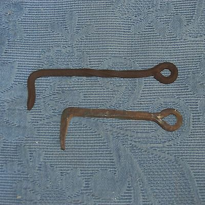 2 Antique Iron Blacksmith Hand Made Gate Latch Hooks 2