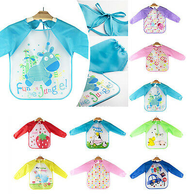 Long Sleeve Baby Bibs Bib Apron Waterproof Art Smock Feeding Toddler Children 6