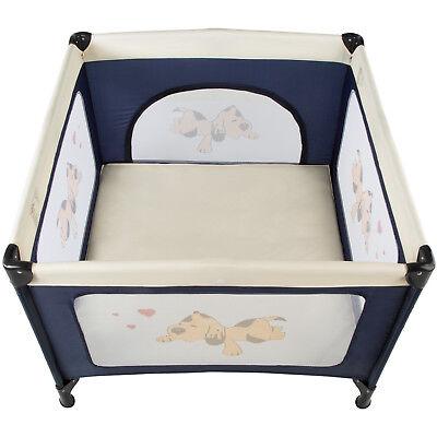 Box per gioco e nanna lettino da viaggio reticolato campeggio bambini bebé blu 2