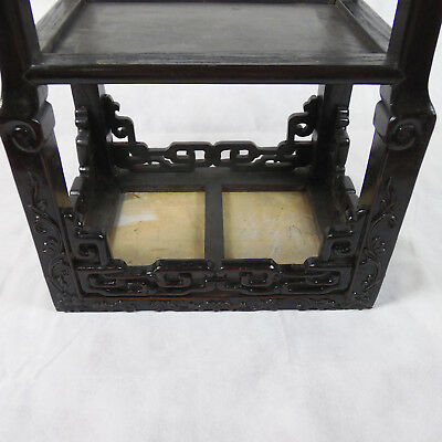 Chinese Hardwood Incense Table Marble Inset Qing Dynasty 19th C 7