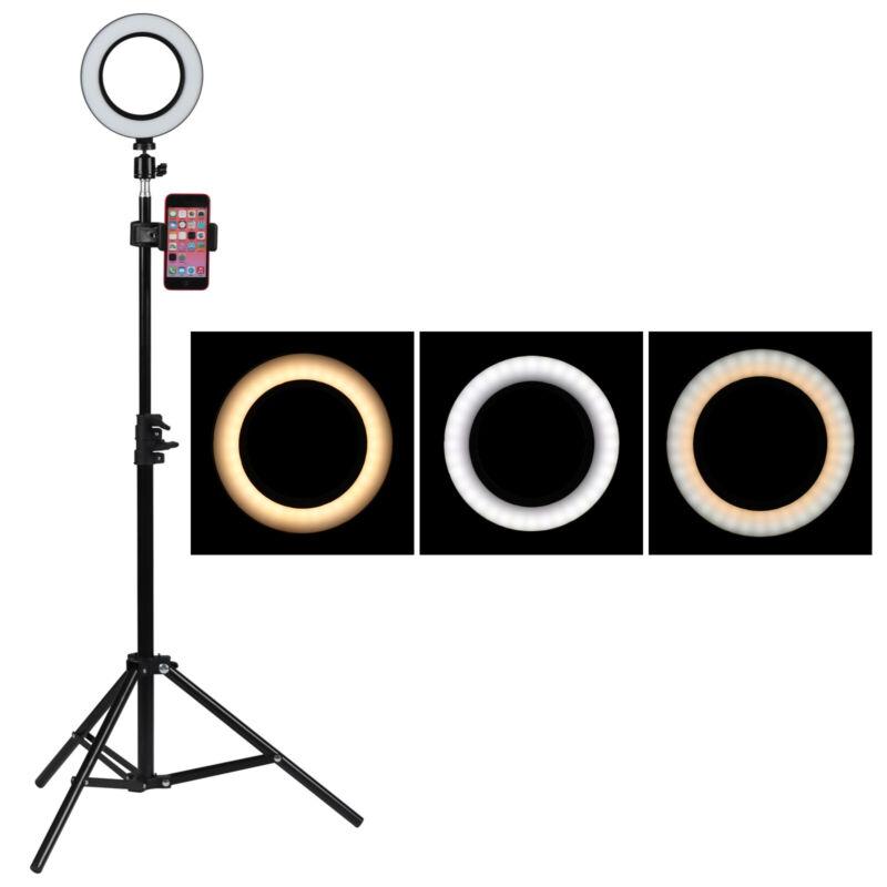 LED dimmbar Ringleuchte Ringlicht mit Handy Stativ für Live YouTube Makeup 7