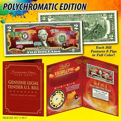 2019 Chinese New YEAR OF THE PIG Polychrome 8 Pigs $2 Bill in Large 8x10 Folio 3