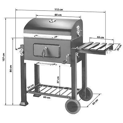 BBQ Griglia a carbonella barbecue giardino legna affumicatoio 115x65x107 6