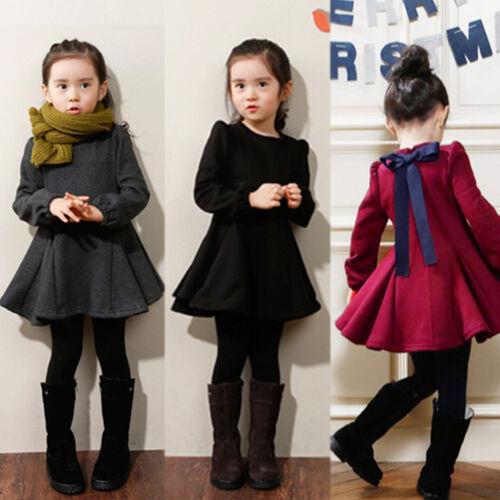 Kinder Mädchen Fleece Winter Kleider Langarm Kleid Baby Prinzessin ...