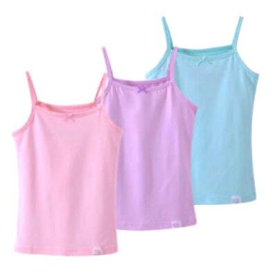 Kids Girls Sleeveless Short Crops, Camisoles 3 Vests Pack 100% Cotton 3 to 10YRS 3