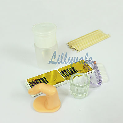 Professional Nail Art Acrylic Powder Liquid Primer Tips Practice Tool Full Kit 4