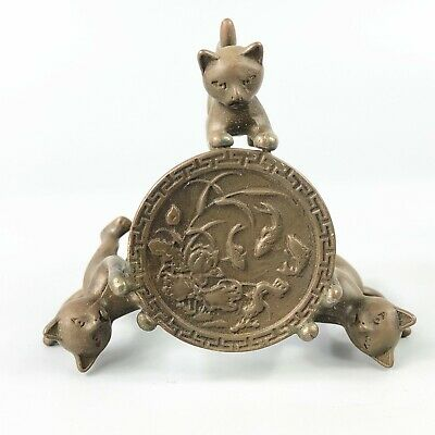 Exquisite Collectible Old Copper Handwork 3 Cats Chinese Candlestick Statue RN 5