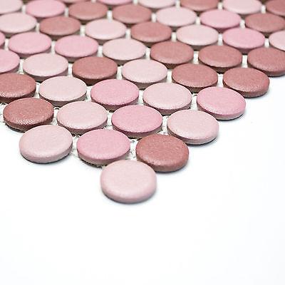Fliesen Mosaikfliese Keramik Knopf Mix Altrosa Rutschhemmend 5mm Neu