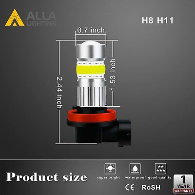 Alla Lighting 72-LED H8 Driving Cornering Light Bulb Replacement Cool Ice Blue