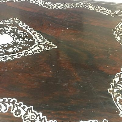 Fine Quality Antique Victorian Rosewood Mother Of Pearl Writing Slope Damage 11