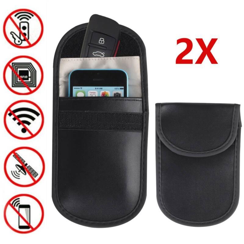 2 x Car Key Signal Blocker Case Faraday Cage Fob Pouch Keyless Blocking Bag 3