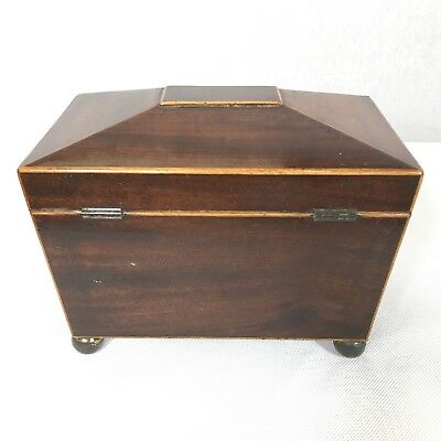 Antique Regency Mahogany Satinwood Inlaid Brass Mounted Two Section Tea Caddy 6
